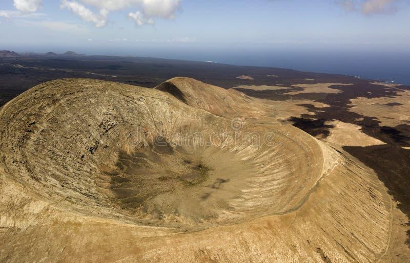 Εναέρια άποψη Timanfaya, εθνικό πάρκο, Caldera BLANCA, εσωτερικό του κρατήρα στοκ εικόνες
