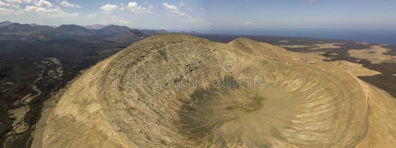 Εναέρια άποψη Timanfaya, εθνικό πάρκο, Caldera BLANCA, πανοραμική άποψη των ηφαιστείων Lanzarote, Κανάρια νησιά, Ισπανία στοκ φωτογραφίες