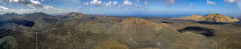 Εναέρια άποψη Timanfaya, εθνικό πάρκο, Caldera BLANCA, πανοραμική άποψη των ηφαιστείων Lanzarote, Κανάρια νησιά, Ισπανία στοκ φωτογραφία