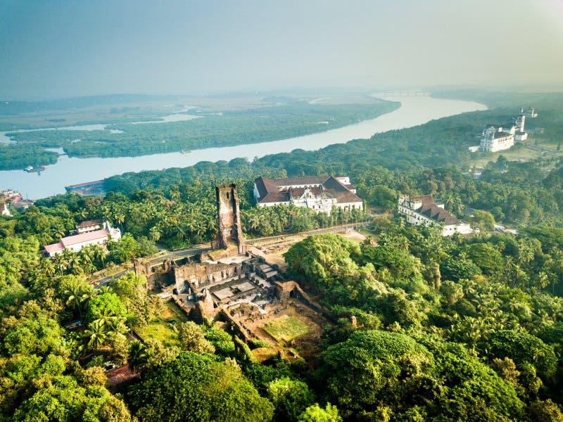 Εναέρια άποψη Velha Goa σε Goa Ινδία στοκ φωτογραφία με δικαίωμα ελεύθερης χρήσης