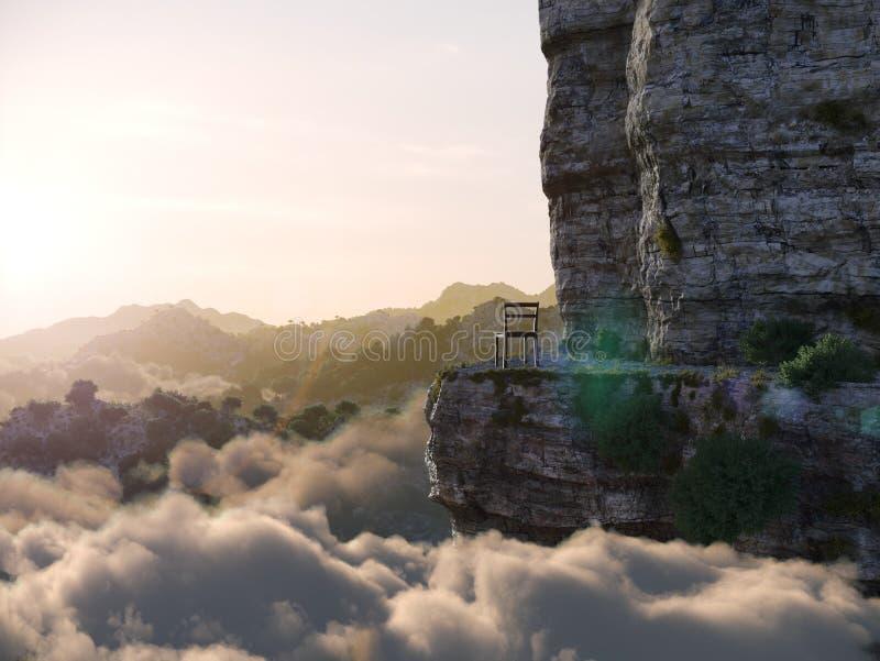 Εναέρια βουνά άποψης με τη φωτογραφία έννοιας βράχου και καρεκλών στοκ φωτογραφία με δικαίωμα ελεύθερης χρήσης