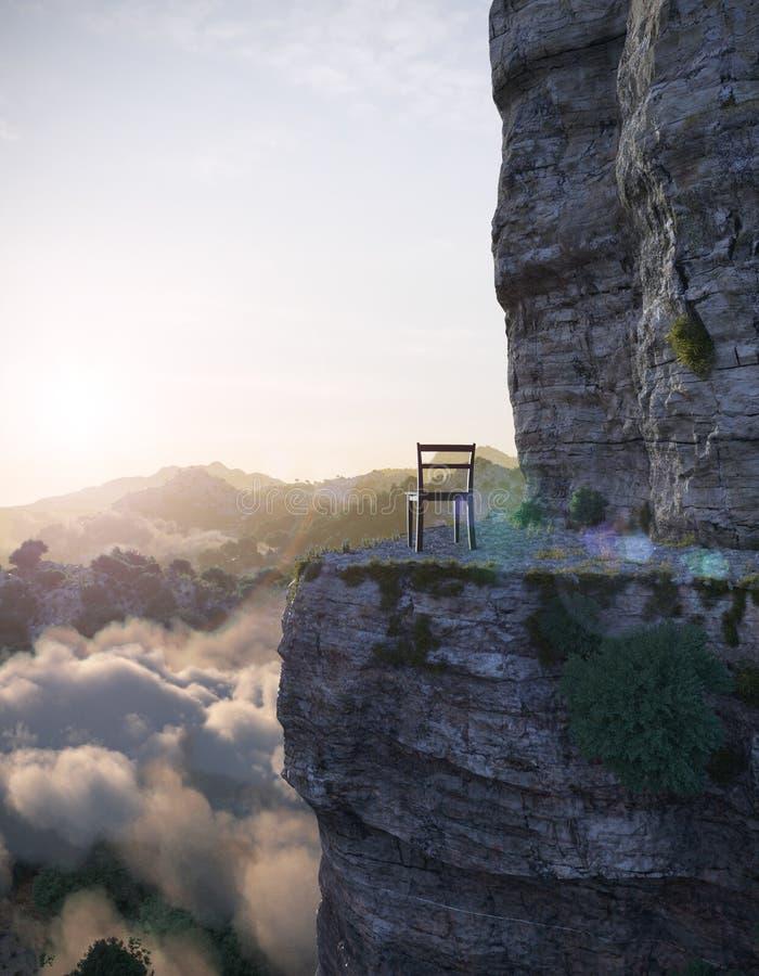 Εναέρια βουνά άποψης με τη φωτογραφία έννοιας βράχου και καρεκλών στοκ εικόνες με δικαίωμα ελεύθερης χρήσης
