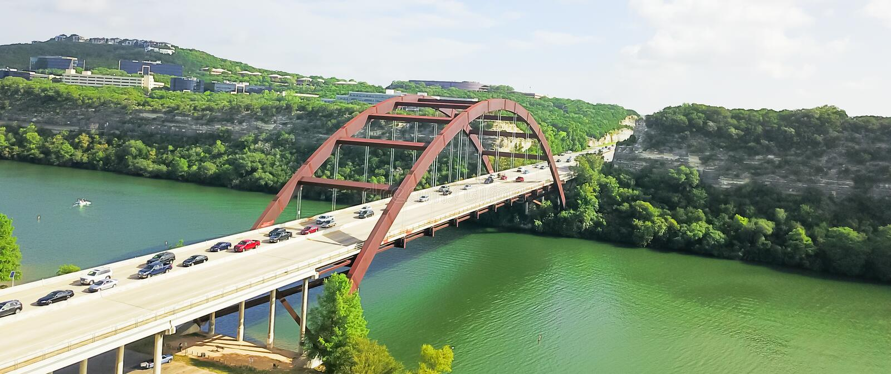 Εναέρια γέφυρα Pennybacker άποψης ή γέφυρα 360 στο Ώστιν, Τέξας, U στοκ φωτογραφίες
