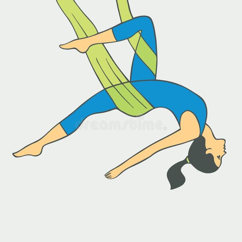 Εναέρια γιόγκα Γιόγκα Aero Ενάντια στη βαρύτητα γιόγκα διανυσματική απεικόνιση