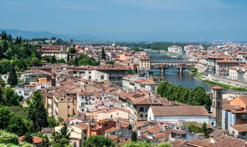 Εναέρια εικονική παράσταση πόλης της Φλωρεντίας, Τοσκάνη, Ιταλία στοκ φωτογραφίες