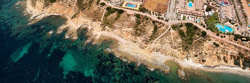 Εναέρια πανοραμική ακτή φωτογραφίας Torrevieja στοκ εικόνες με δικαίωμα ελεύθερης χρήσης