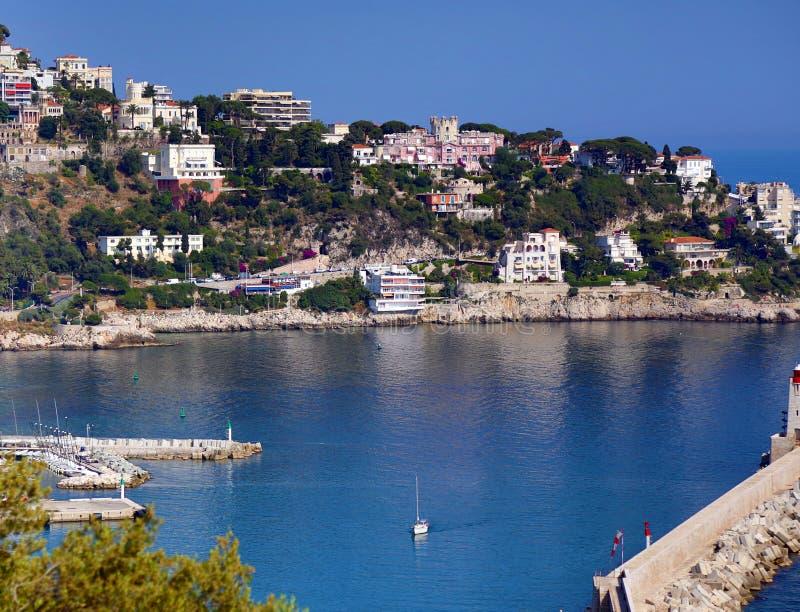 Εναέρια προοπτική του βορίου της Νίκαιας Mont θάλασσας και πόλεων στοκ φωτογραφίες με δικαίωμα ελεύθερης χρήσης
