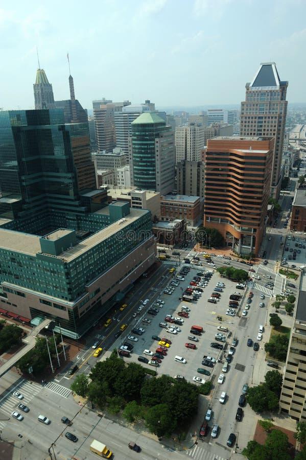 εναέρια στο κέντρο της πόλης όψη της Βαλτιμόρης στοκ φωτογραφίες