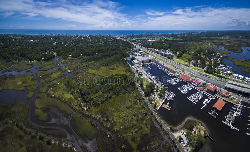Εναέρια φωτογραφία του ναυτικού παραλιών στο Τζάκσονβιλ Φλώριδα στοκ εικόνες