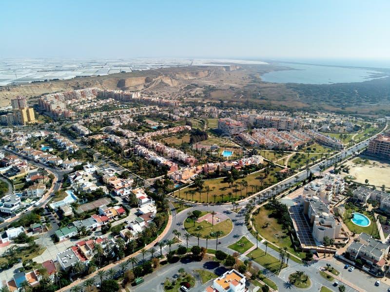 Εναέρια φωτογραφία Almerimar κηφήνων townscape, επαρχία της Αλμερία Ανδαλουσία, Ισπανία στοκ εικόνα με δικαίωμα ελεύθερης χρήσης