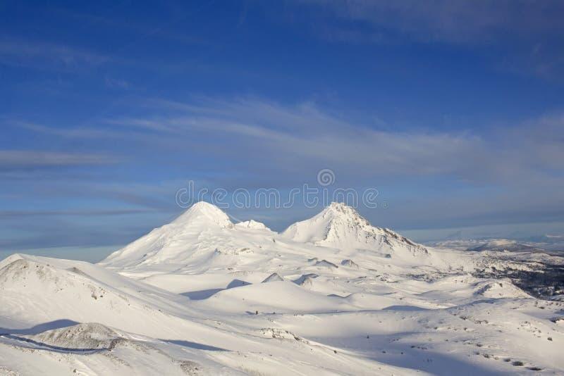 Εναέρια χειμερινή όψη των βουνών της αδελφής στοκ εικόνα