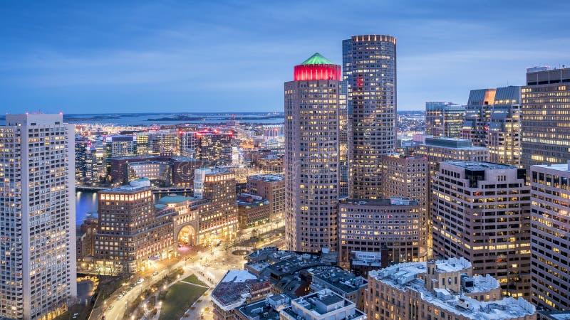 Εναέρια όψη της Βοστώνης στη Μασαχουσέτη, ΗΠΑ στοκ εικόνες