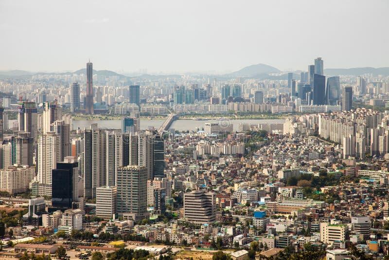 Εναέριες απόψεις της Σεούλ, Νότια Κορέα στοκ εικόνα με δικαίωμα ελεύθερης χρήσης