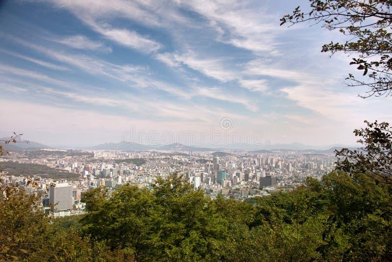Εναέριες απόψεις της Σεούλ, Νότια Κορέα στοκ εικόνες με δικαίωμα ελεύθερης χρήσης