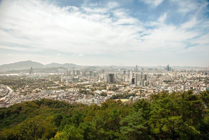 Εναέριες απόψεις της Σεούλ, Νότια Κορέα στοκ εικόνες
