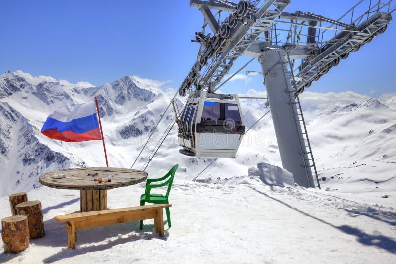 Εναέριος ανελκυστήρας σε Elbrus στοκ εικόνα με δικαίωμα ελεύθερης χρήσης