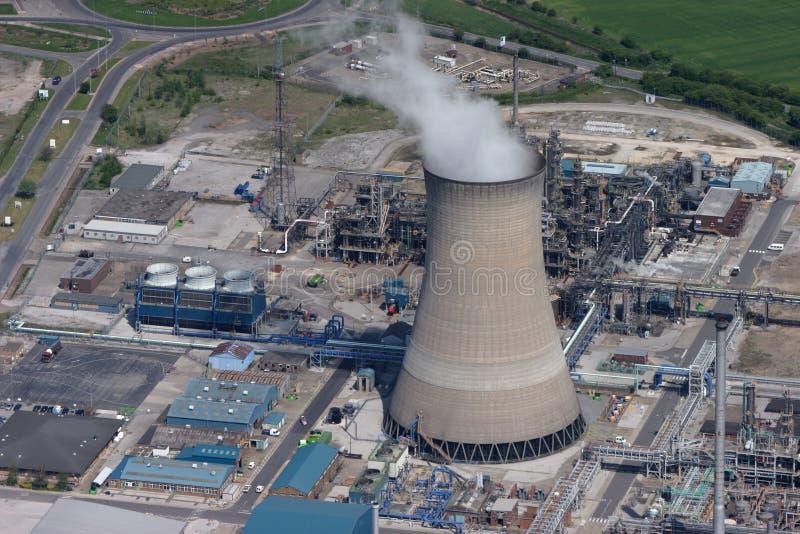 εναέριος βαλμένος φωτιά σταθμός παραγωγής ηλεκτρικού ρεύματος αερίου στοκ εικόνες με δικαίωμα ελεύθερης χρήσης