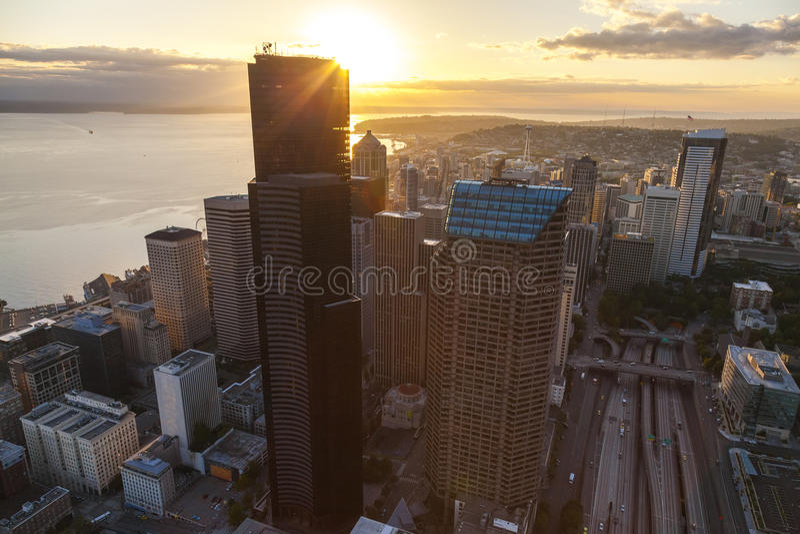 Εναέριος ορίζοντας πόλεων φωτογραφιών, Σιάτλ, Ουάσιγκτον, ΗΠΑ στοκ φωτογραφία με δικαίωμα ελεύθερης χρήσης