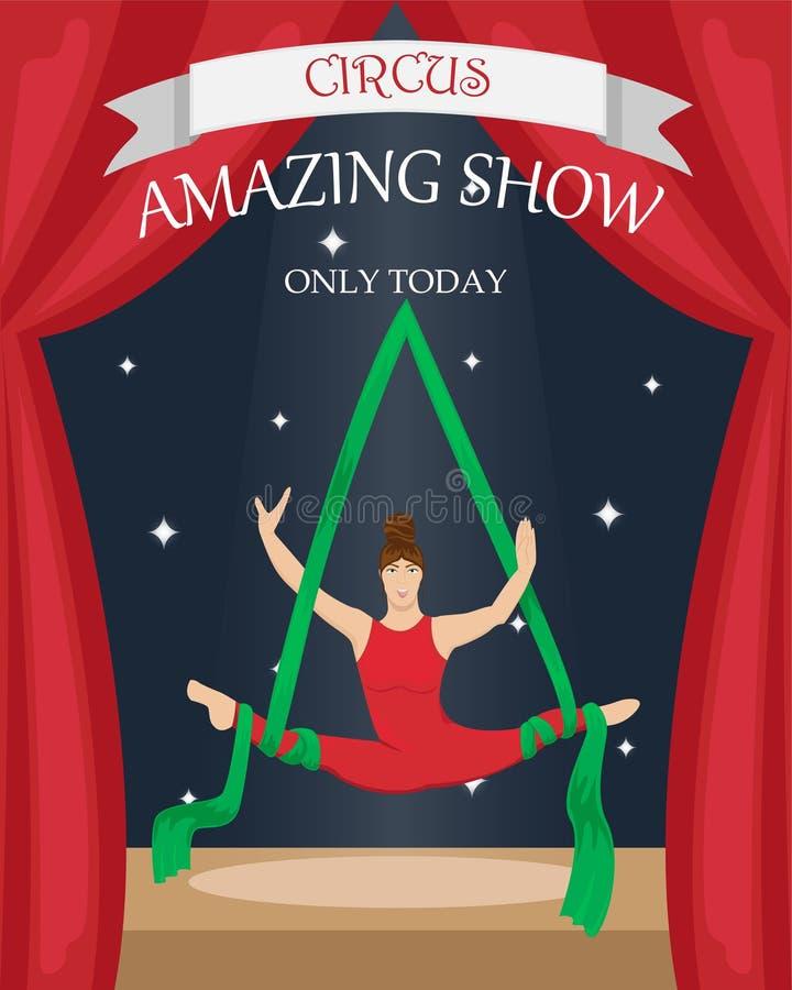 Εναέριος gymnast τσίρκων στα canvases Επίπεδη διανυσματική αφίσα διανυσματική απεικόνιση