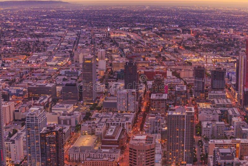 Εναέριο ηλιοβασίλεμα του Λος Άντζελες στοκ φωτογραφία με δικαίωμα ελεύθερης χρήσης