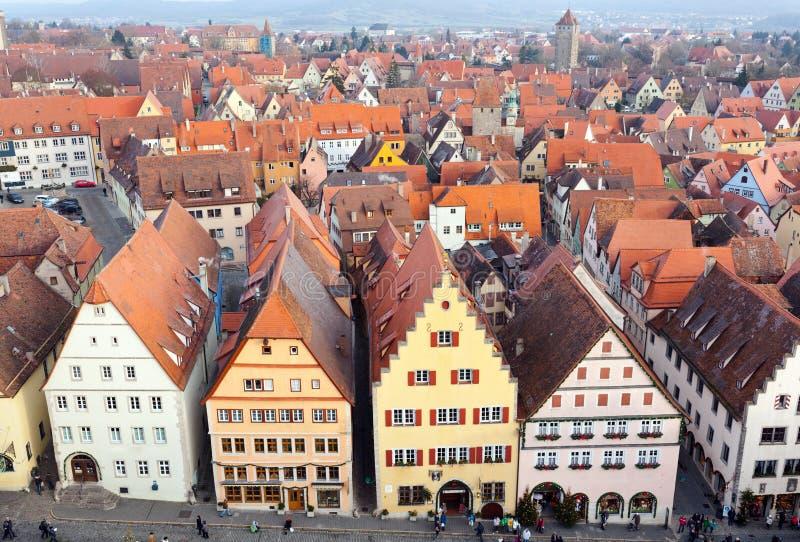 Εναέριο πανόραμα της παλαιάς πόλης, Rothenburg ob der Tauber στοκ εικόνες με δικαίωμα ελεύθερης χρήσης