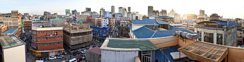 εναέριο πανόραμα 180 βαθμού του Ναϊρόμπι, Κένυα στοκ εικόνες με δικαίωμα ελεύθερης χρήσης