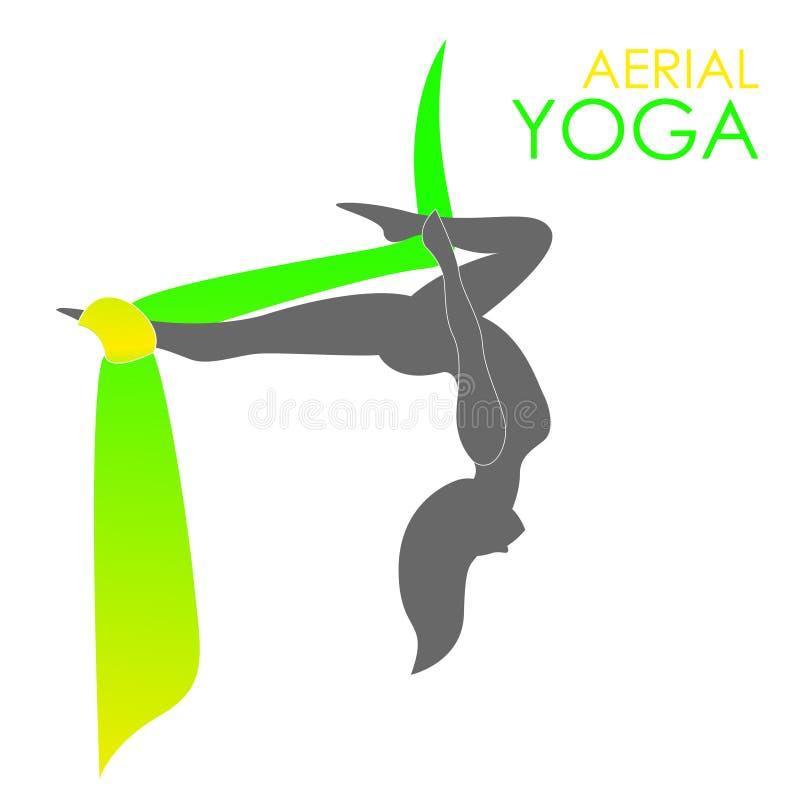 Εναέριο πρότυπο λογότυπων γιόγκας Ενάντια στη βαρύτητα γιόγκα διανυσματική απεικόνιση