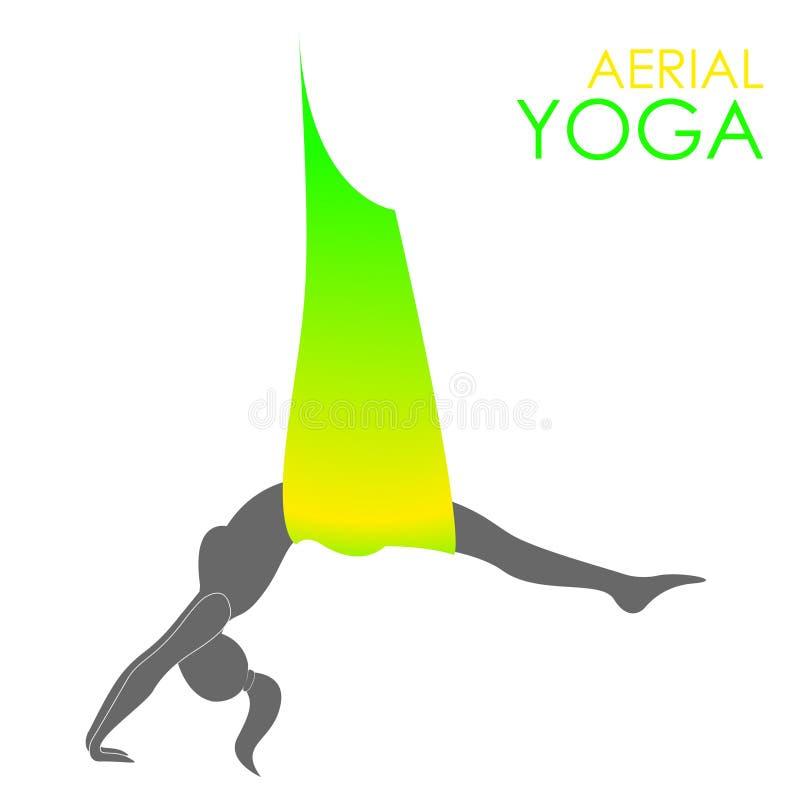Εναέριο πρότυπο λογότυπων γιόγκας Ενάντια στη βαρύτητα γιόγκα ελεύθερη απεικόνιση δικαιώματος