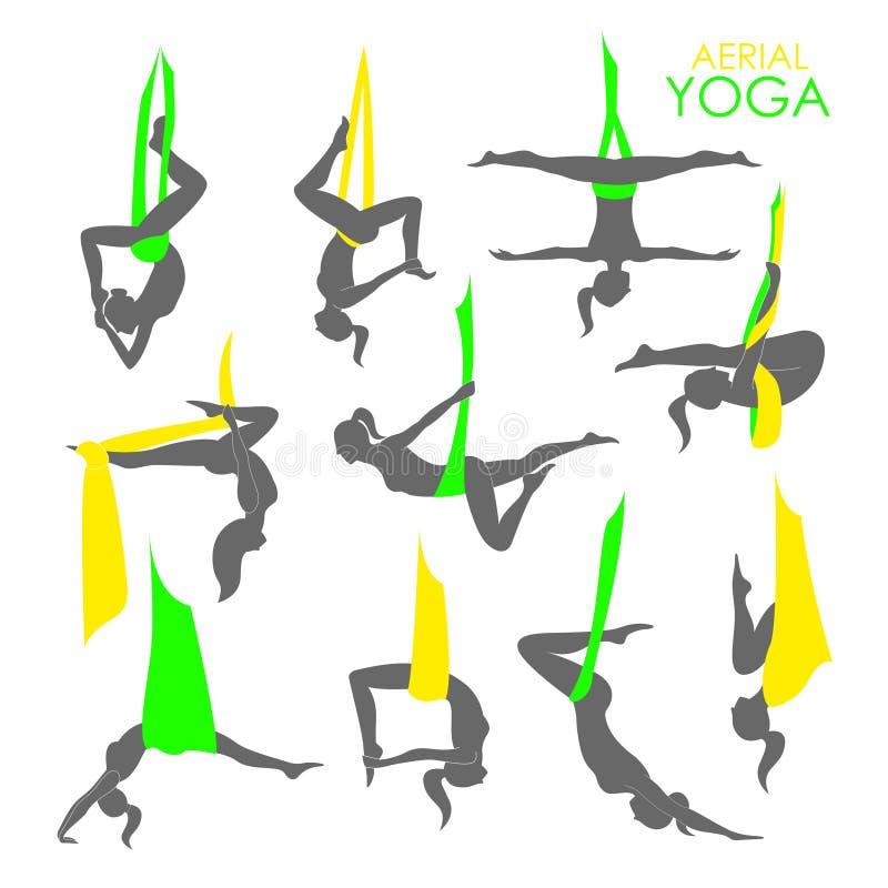 Εναέριο πρότυπο λογότυπων γιόγκας Ενάντια στη βαρύτητα γιόγκα απεικόνιση αποθεμάτων