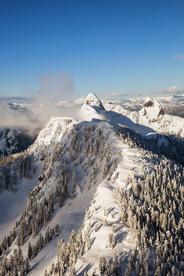 Εναέριο τοπίο βουνών κοντά στο Βανκούβερ στοκ φωτογραφίες