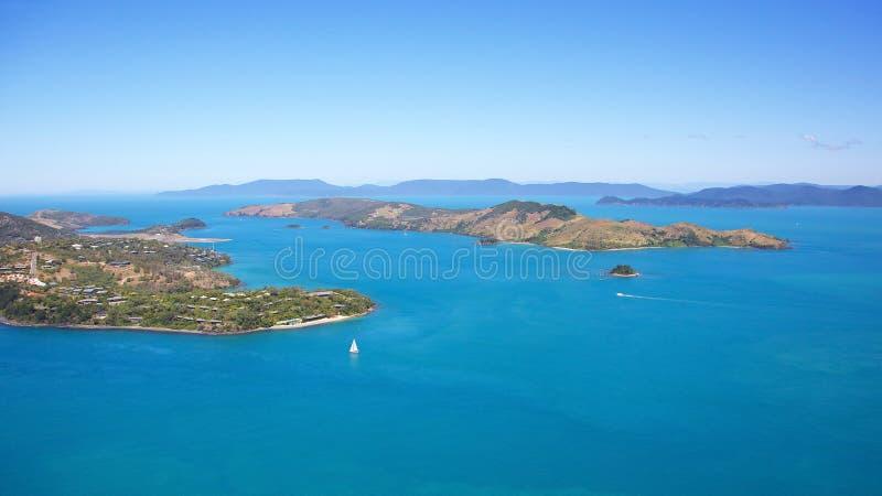 Εναέριο τοπίο Whitsundays νησιών του Χάμιλτον στοκ εικόνες