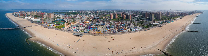 Εναέριο Coney Island πανοράματος στοκ εικόνες