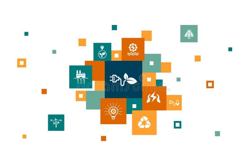 Εναλλακτική ενέργεια Infographic 10 βήματα απεικόνιση αποθεμάτων