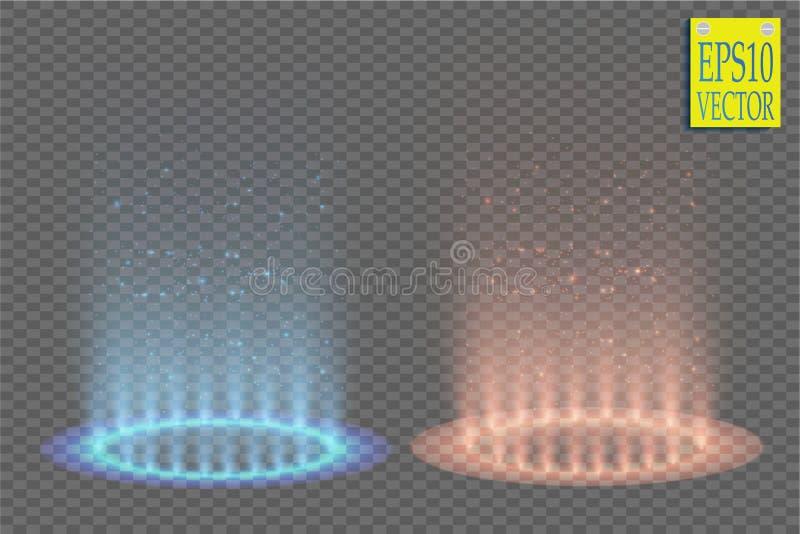 Εναντίον της στρογγυλής μπλε και κόκκινης σκηνής νύχτας ακτίνων πυράκτωσης με τους σπινθήρες στο διαφανές υπόβαθρο απεικόνιση αποθεμάτων