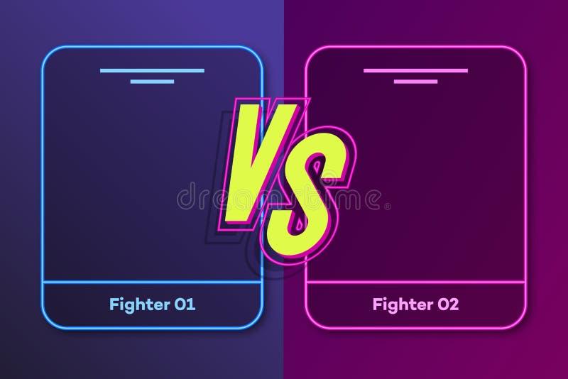 Εναντίον του εμβλήματος με το πλαίσιο για δύο μαχητές και εναντίον του σημαδιού απεικόνιση αποθεμάτων