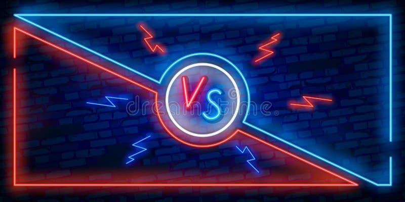 Εναντίον του σχεδίου οθόνης στο ύφος νέου Ανακοίνωση εμβλημάτων νέου δύο μαχητών Μπλε φουτουριστικό νέο ΕΝΑΝΤΙΟΝ των φύλλων Ανταγ διανυσματική απεικόνιση