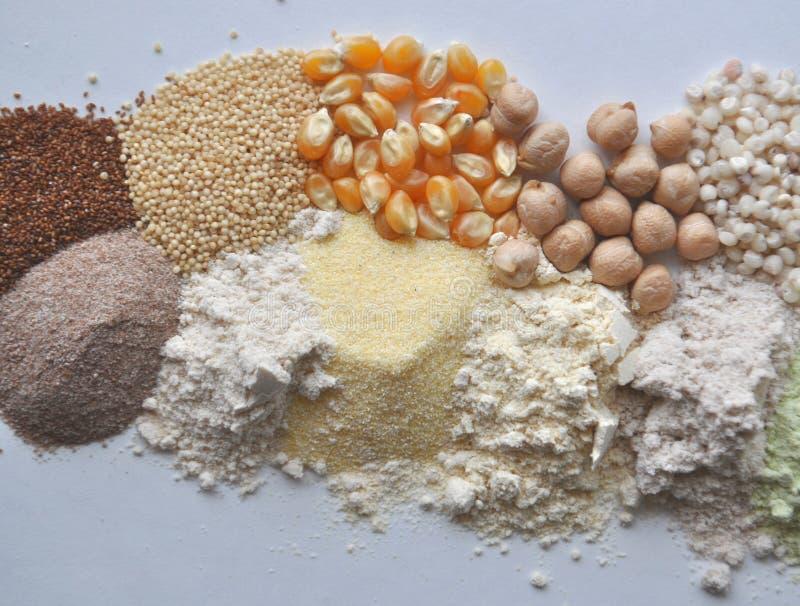 Εναλλακτικά γλουτένη-ελεύθερα αλεύρι, σιτάρια και όσπρια - teff, αμάραντος, καλαμπόκι, chickpeas, σόργο, πράσινα μπιζέλια, quinoa στοκ εικόνα με δικαίωμα ελεύθερης χρήσης
