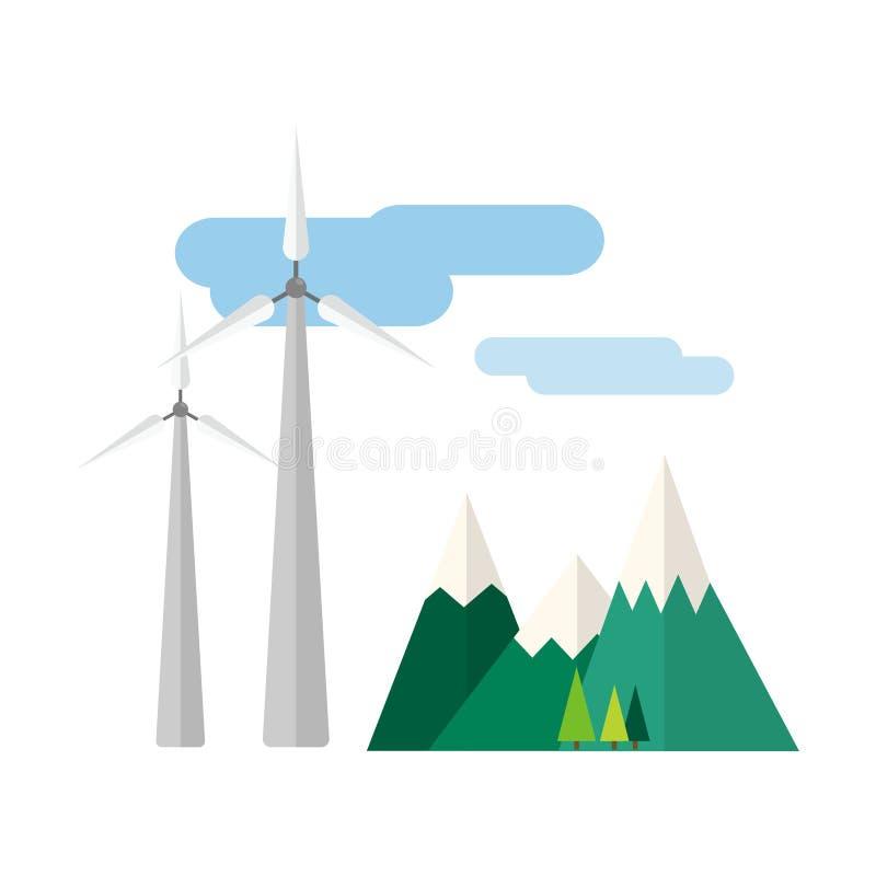 Εναλλακτική ενέργεια δύναμης και ανανεώσιμη διανυσματική απεικόνιση φύσης τεχνολογίας σταθμών αέρα στροβίλων eco ελεύθερη απεικόνιση δικαιώματος