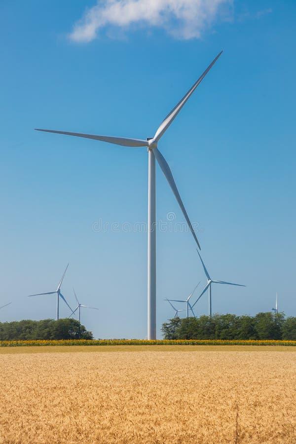 Εναλλακτική ενέργεια Pinwheels αιολικών πάρκων στο μπλε ουρανό στοκ εικόνες