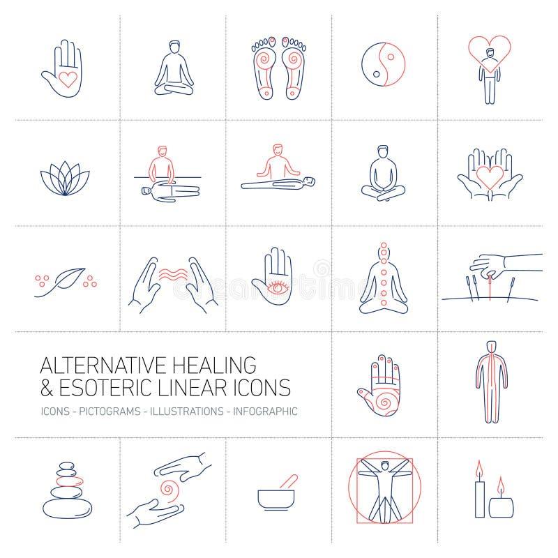 Εναλλακτική θεραπεία και εσωτερικά γραμμικά εικονίδια καθορισμένα μπλε και κόκκινες διανυσματική απεικόνιση