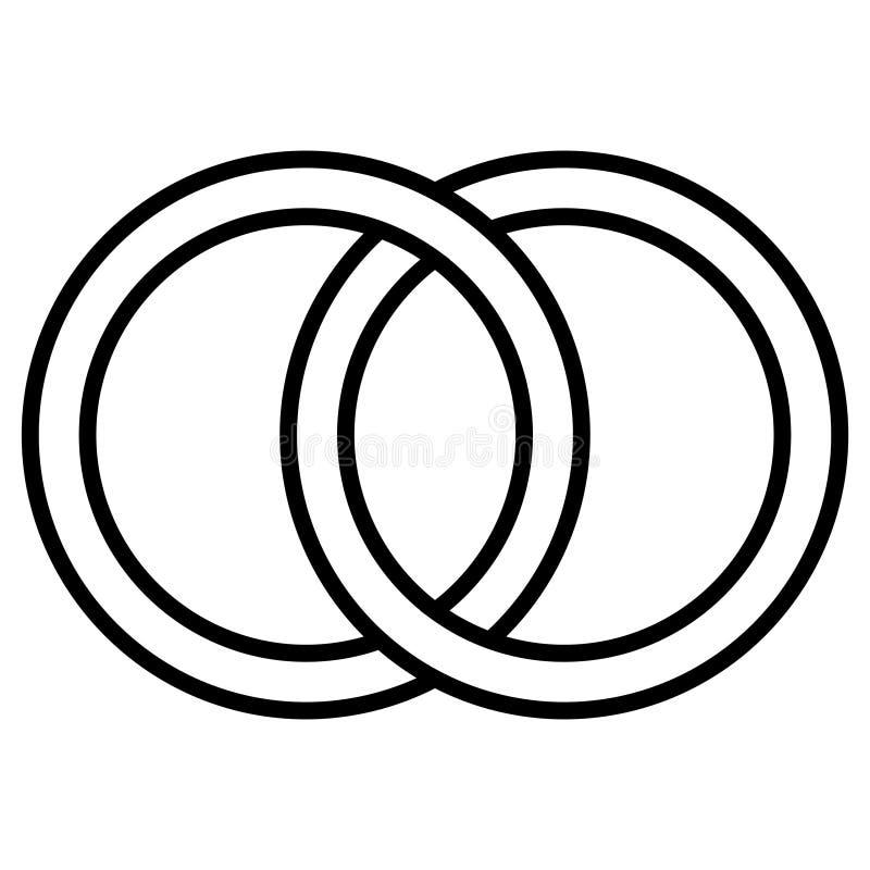 Ενδασφαλίζοντας σημάδι εικονιδίων κύκλων, δαχτυλίδια περιλήψεων Κύκλοι, σύμβολο εικονιδίων γαμήλιας έννοιας δαχτυλιδιών διανυσματική απεικόνιση