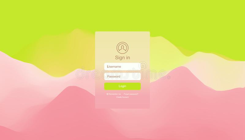 Ενδιάμεσο με τον χρήστη σύνδεσης Σύγχρονο σχέδιο οθόνης για το κινητό app και Ιστού σχέδιο Υπόβαθρο κλίσης Στοιχείο ιστοχώρου r απεικόνιση αποθεμάτων