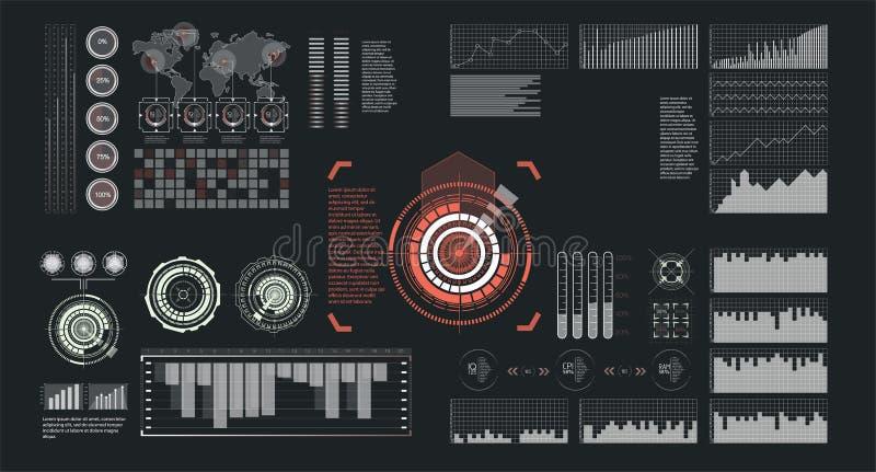 Ενδιάμεσο με τον χρήστη hud και infographic διανυσματική απεικόνιση