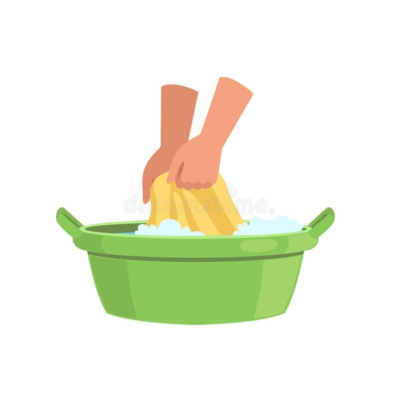 Ενδύματα πλύσης στην πράσινη λεκάνη με το χέρι, τη διανυσματική απεικόνιση έννοιας καθαρισμού και οικιακών σε ένα άσπρο υπόβαθρο ελεύθερη απεικόνιση δικαιώματος