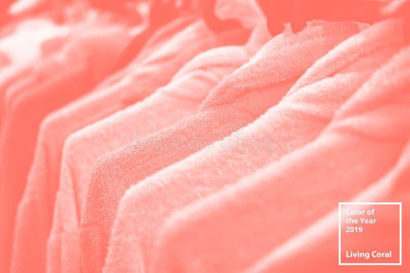Ενδύματα στην κρεμάστρα Χρώμα του κοραλλιού διαβίωσης έτους 2019 Δημοφιλής παλέτα τάσης για τις απεικονίσεις σχεδίου, υφάσματα, μ στοκ φωτογραφία με δικαίωμα ελεύθερης χρήσης