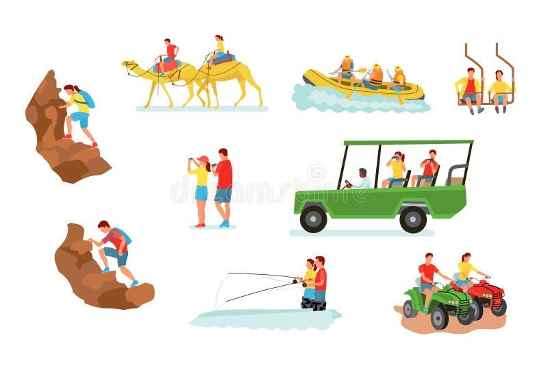 Ενεργές διανυσματικές απεικονίσεις κινούμενων σχεδίων ταξιδιού καθορισμένες απεικόνιση αποθεμάτων