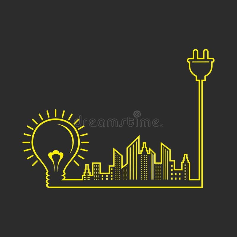 Ενεργειακή έννοια με τον ηλεκτρικούς βολβό, το βούλωμα και τη εικονική παράσταση πόλης απεικόνιση αποθεμάτων
