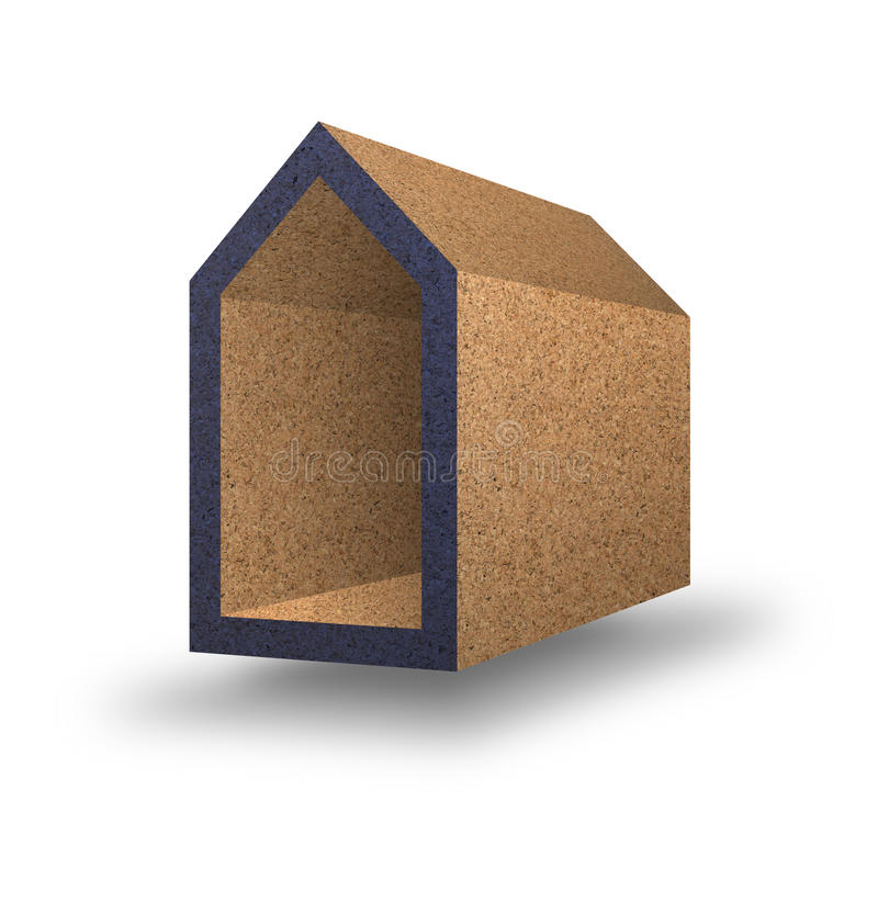 Ενεργειακή αποδοτικότητα - εικόνα έννοιας με τα χρωματισμένα σπίτια στο corck διανυσματική απεικόνιση