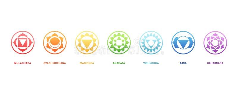 Ενεργειακή θεραπεία Chakras, ιερό διάνυσμα γεωμετρίας διανυσματική απεικόνιση