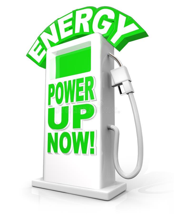 Ενεργειακή δύναμη επάνω τώρα στις λέξεις αντλιών καυσίμων διανυσματική απεικόνιση